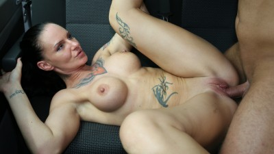 Slutty tattooed German MILF gets picked up, fucked and cummed on in the bus - Bums Bus