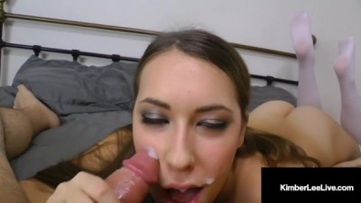 Slutty Student Kimber Lee Sucks on your Pulsating Penis!