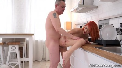 Old goes Young - Naughty Chick Rides a Hard Cock in Kitchen