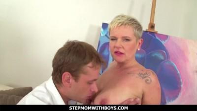 StepmomWithBoys - Euro Blonde Mature Fucks Stressed Stepson