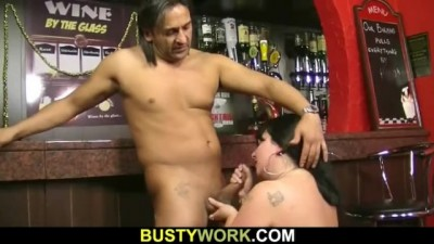 Boss Enjoys her Giant Boobs and Fat Pussy