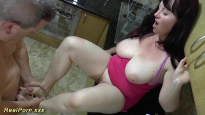 Horny BBW Stepmom gives Footjob
